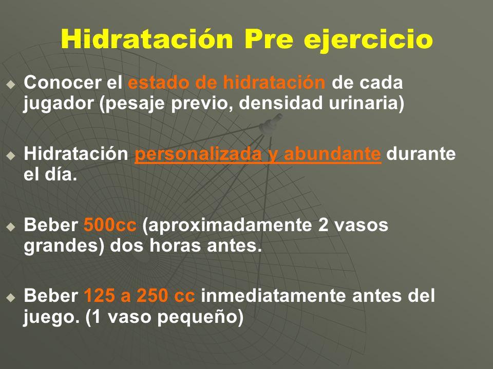 Hidratación Pre ejercicio Conocer el estado de hidratación de cada jugador (pesaje previo, densidad urinaria) Hidratación personalizada y abundante du
