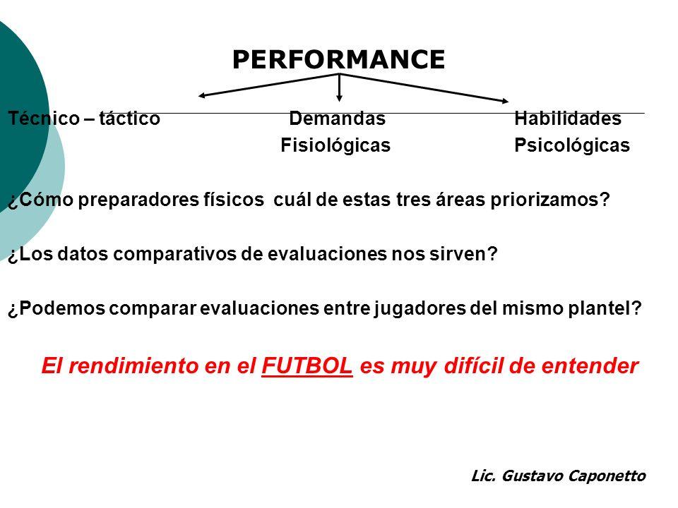 PERFORMANCE Técnico – táctico Demandas Habilidades Fisiológicas Psicológicas ¿Cómo preparadores físicos cuál de estas tres áreas priorizamos? ¿Los dat