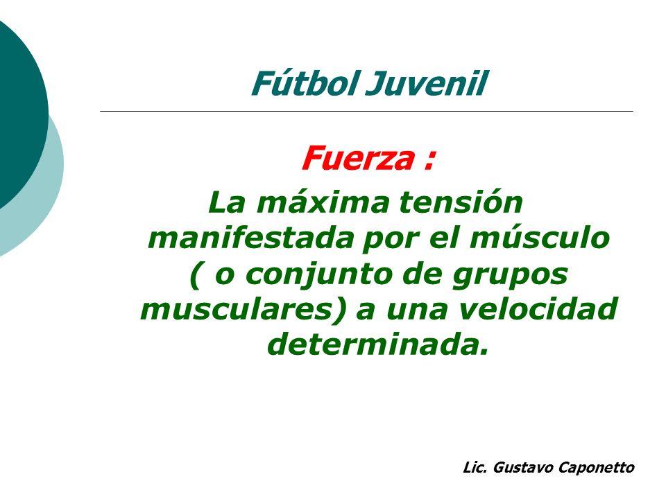 Fuerza : La máxima tensión manifestada por el músculo ( o conjunto de grupos musculares) a una velocidad determinada. Lic. Gustavo Caponetto Fútbol Ju