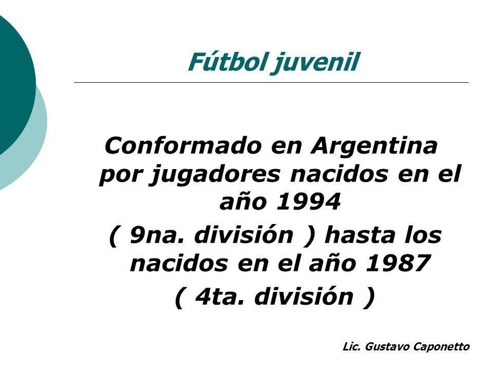 Conformado en Argentina por jugadores nacidos en el año 1994 ( 9na. división ) hasta los nacidos en el año 1987 ( 4ta. división ) Fútbol juvenil Lic.