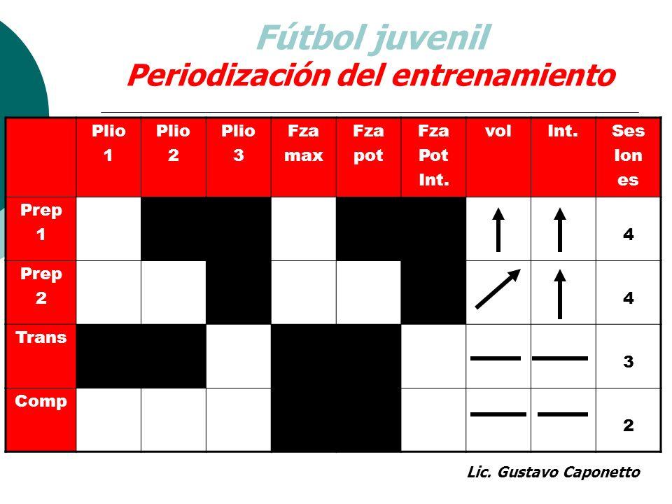 Fútbol juvenil Periodización del entrenamiento Plio 1 Plio 2 Plio 3 Fza max Fza pot Fza Pot Int. volInt.Ses Ion es Prep 14 Prep 24 Trans 3 Comp 2 Lic.