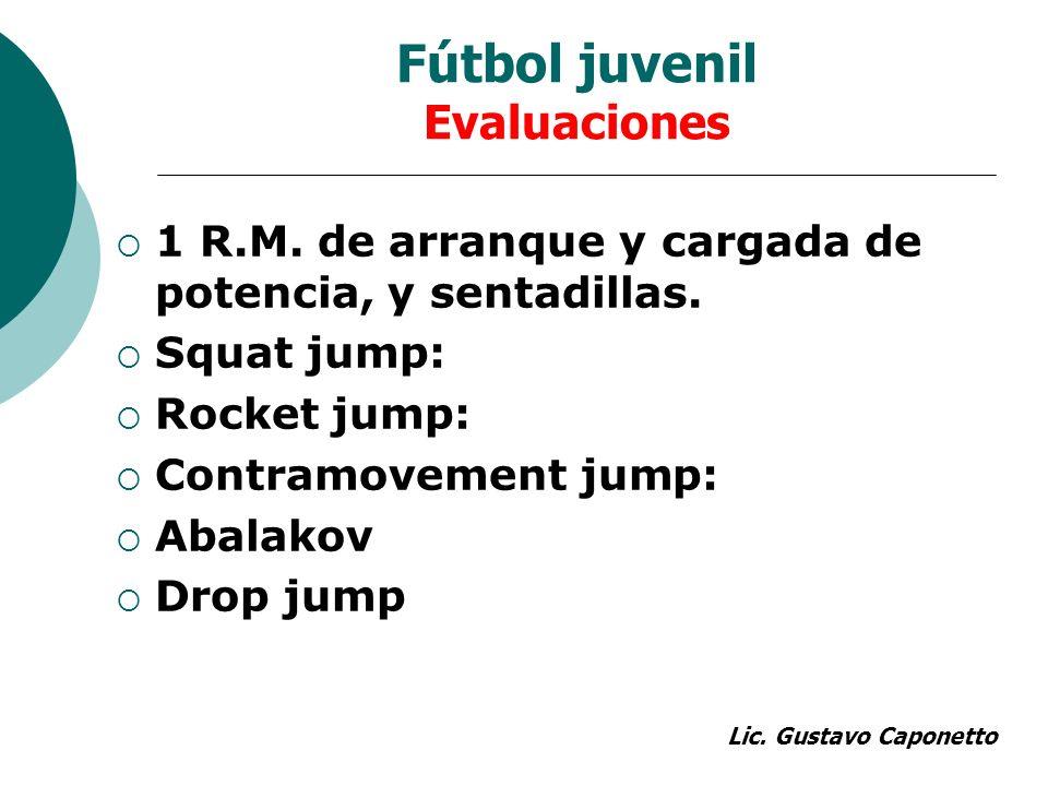 Fútbol juvenil Evaluaciones 1 R.M. de arranque y cargada de potencia, y sentadillas. Squat jump: Rocket jump: Contramovement jump: Abalakov Drop jump