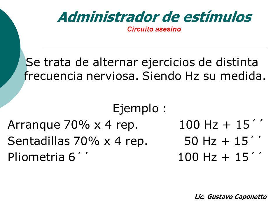 Administrador de estímulos Circuito asesino Se trata de alternar ejercicios de distinta frecuencia nerviosa. Siendo Hz su medida. Ejemplo : Arranque 7