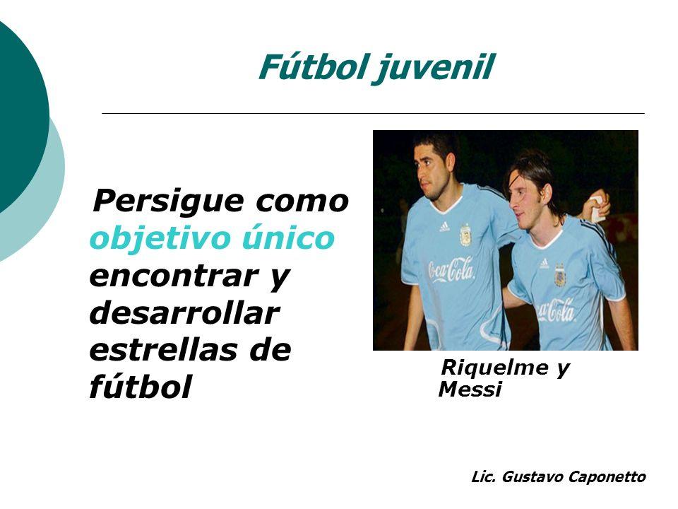 Fútbol juvenil Persigue como objetivo único encontrar y desarrollar estrellas de fútbol Riquelme y Messi Lic. Gustavo Caponetto