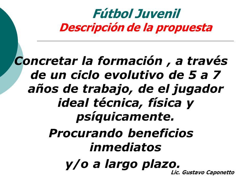 Fútbol Juvenil Descripción de la propuesta Concretar la formación, a través de un ciclo evolutivo de 5 a 7 años de trabajo, de el jugador ideal técnic