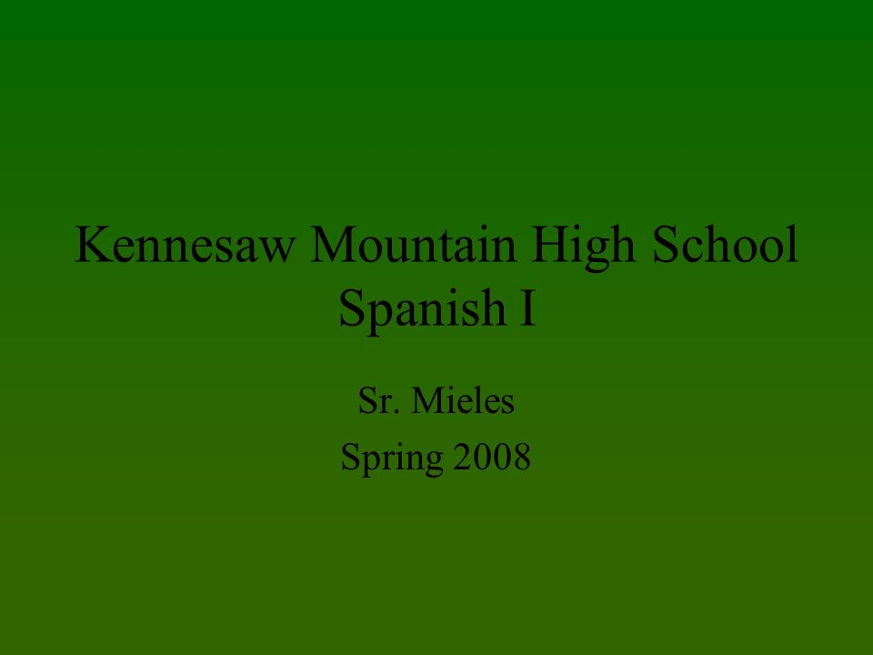 Kennesaw Mountain High School Spanish I Sr. Mieles Spring 2008