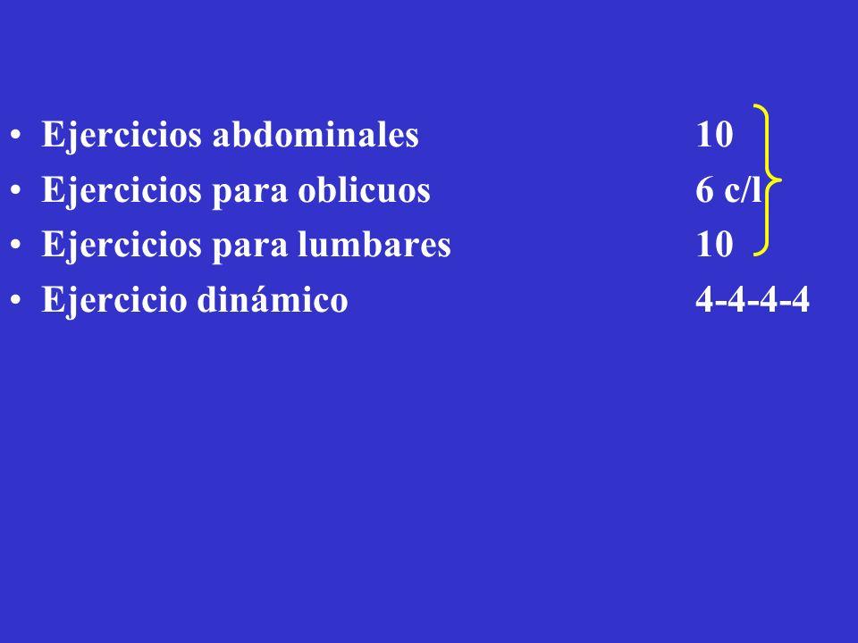 Sobrecarga para fútbol Ejercicios abdominales 10 Ejercicios para oblicuos 6 c/l Ejercicios para lumbares 10 Ejercicio dinámico4-4-4-4
