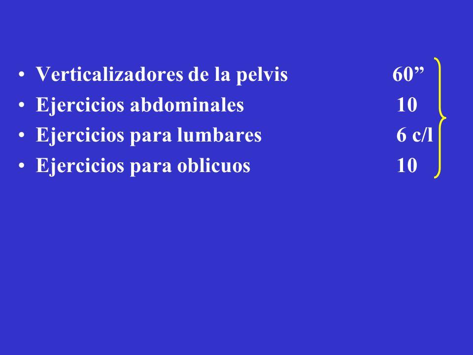 Sobrecarga para fútbol Verticalizadores de la pelvis 60 Ejercicios abdominales 10 Ejercicios para lumbares 6 c/l Ejercicios para oblicuos 10