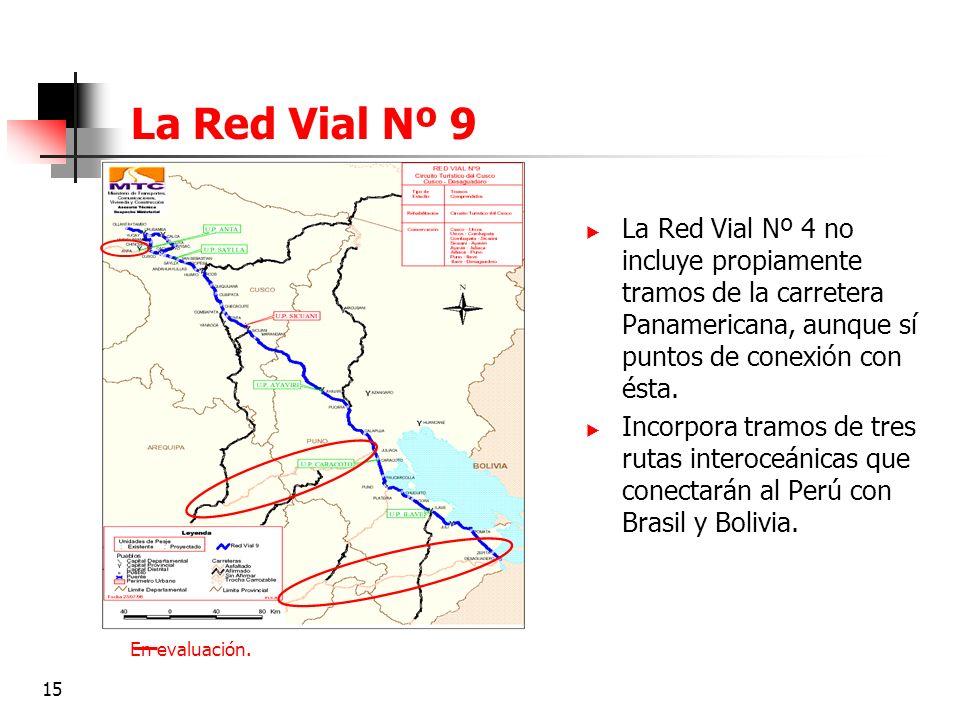 15 La Red Vial Nº 9 En evaluación. La Red Vial Nº 4 no incluye propiamente tramos de la carretera Panamericana, aunque sí puntos de conexión con ésta.