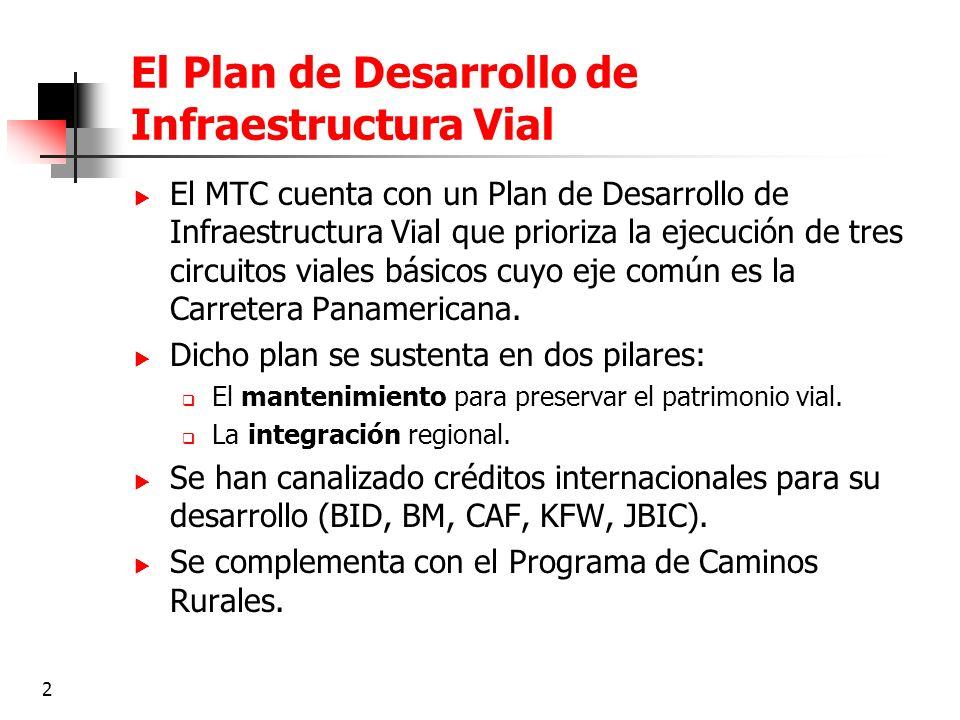2 El Plan de Desarrollo de Infraestructura Vial El MTC cuenta con un Plan de Desarrollo de Infraestructura Vial que prioriza la ejecución de tres circ