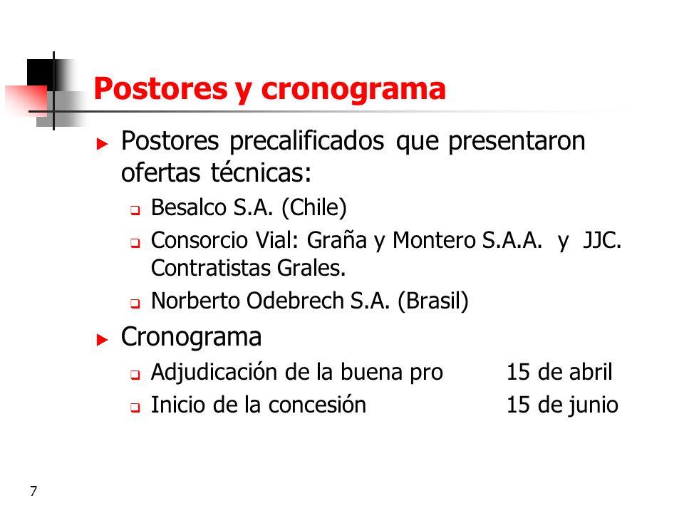 7 Postores y cronograma Postores precalificados que presentaron ofertas técnicas: Besalco S.A. (Chile) Consorcio Vial: Graña y Montero S.A.A. y JJC. C