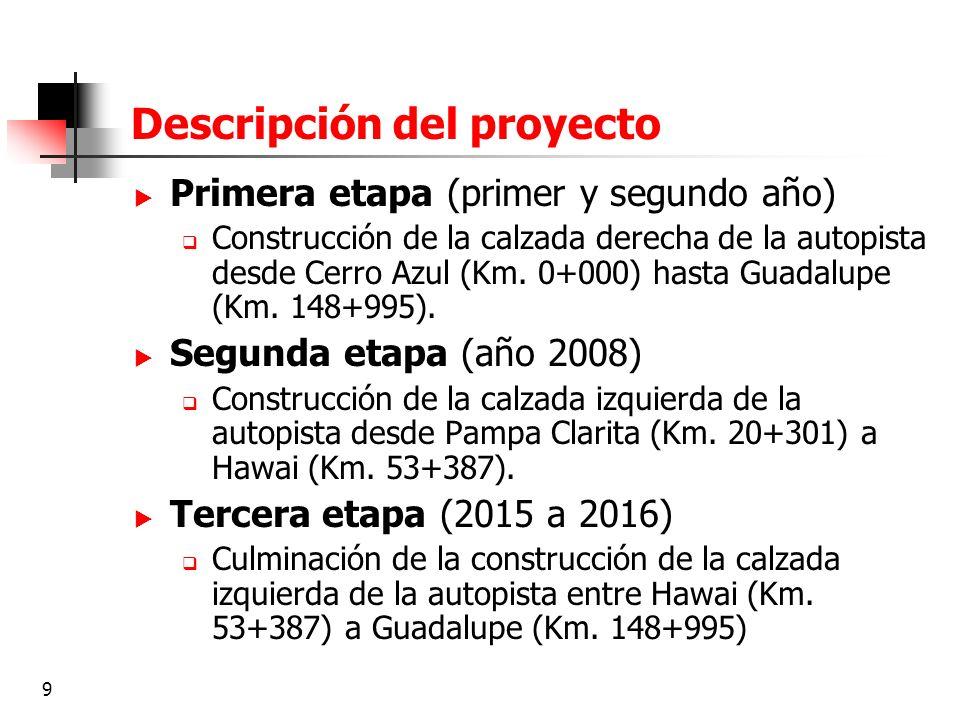 9 Descripción del proyecto Primera etapa (primer y segundo año) Construcción de la calzada derecha de la autopista desde Cerro Azul (Km. 0+000) hasta