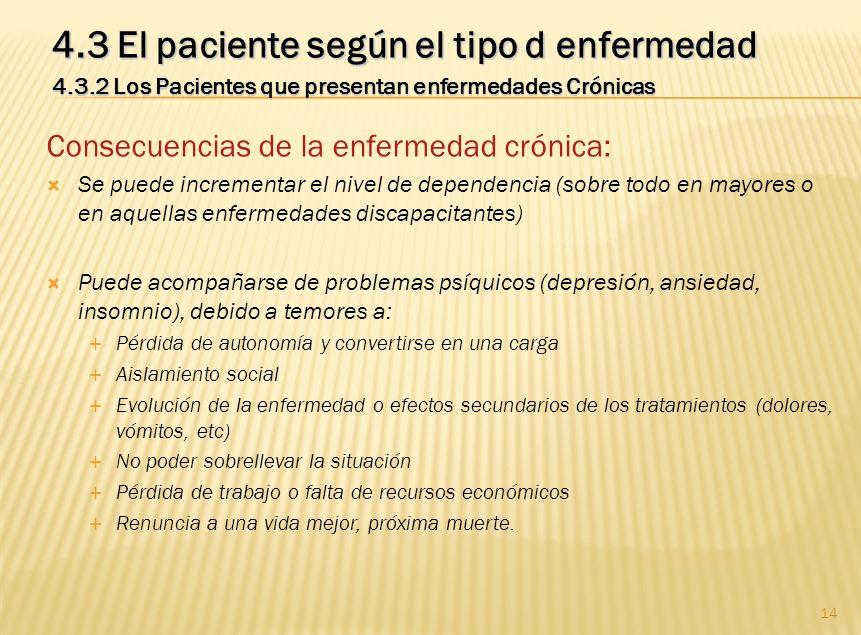 14 4.3 El paciente según el tipo d enfermedad 4.3.2 Los Pacientes que presentan enfermedades Crónicas Consecuencias de la enfermedad crónica: Se puede