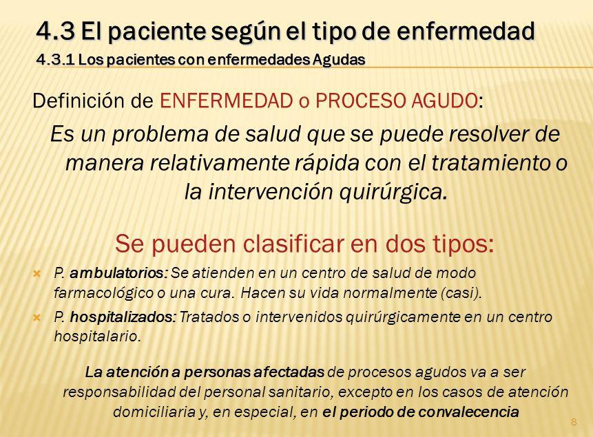 8 4.3 El paciente según el tipo de enfermedad 4.3.1 Los pacientes con enfermedades Agudas Definición de ENFERMEDAD o PROCESO AGUDO: Es un problema de