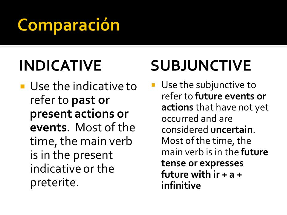 INDICATIVE Use the indicative to refer to past or present actions or events. Most of the time, the main verb is in the present indicative or the prete