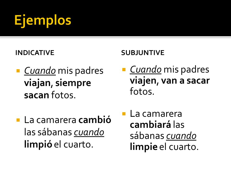 después de que= after luego que= as soon as hasta que= until en cuanto= as soon as mientras que= while/for as long as tan pronto como= as soon as In order to use the subjunctive with these conjunctions, you must have a future reference in the main clause.