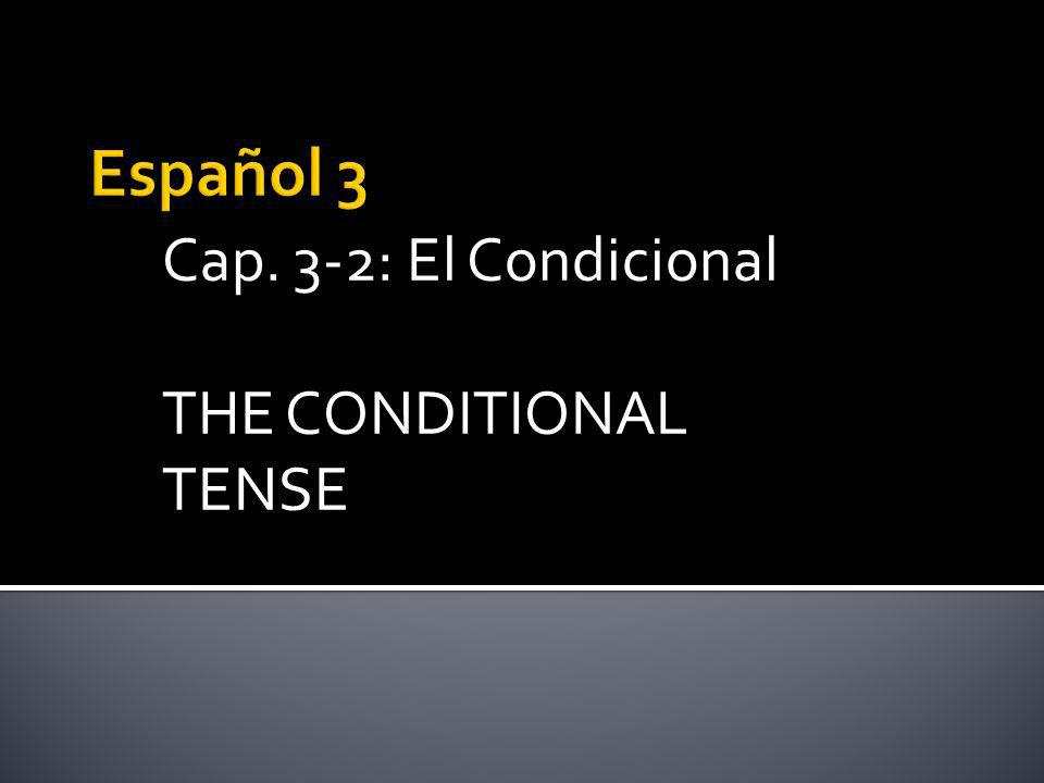 Cap. 3-2: El Condicional THE CONDITIONAL TENSE