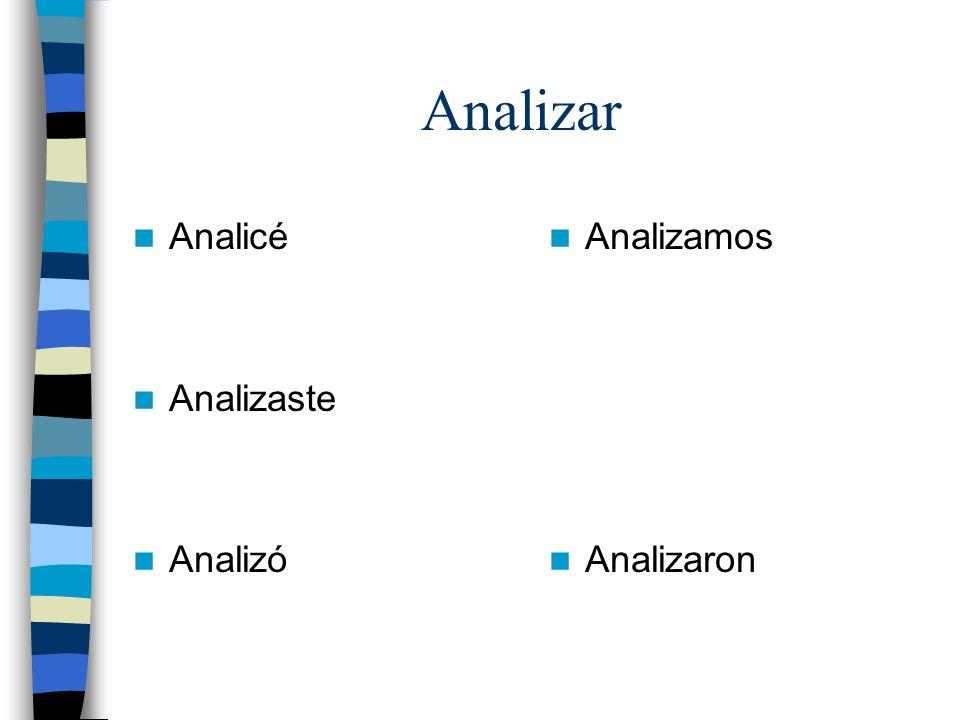 Analizar Analicé Analizaste Analizó Analizamos Analizaron