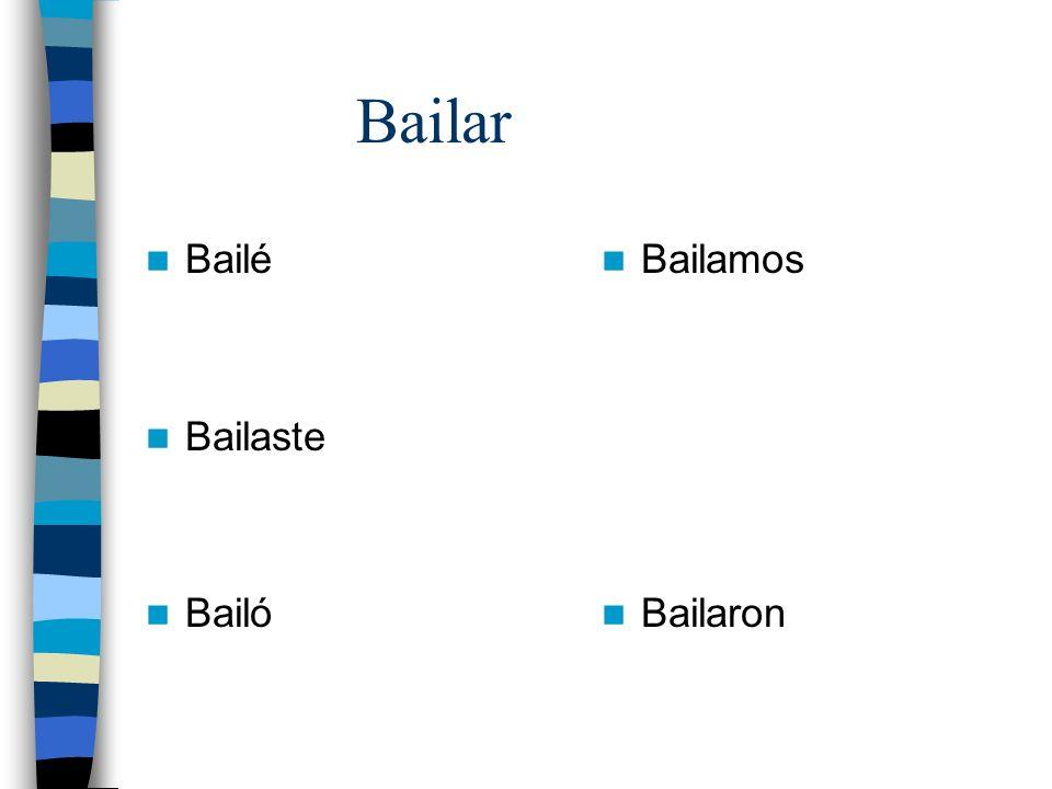 Bailar Bailé Bailaste Bailó Bailamos Bailaron