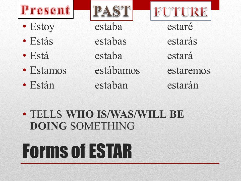 Forms of ESTAR Estoy estabaestaré Estásestabasestarás Estáestabaestará Estamos estábamosestaremos Estánestabanestarán TELLS WHO IS/WAS/WILL BE DOING SOMETHING