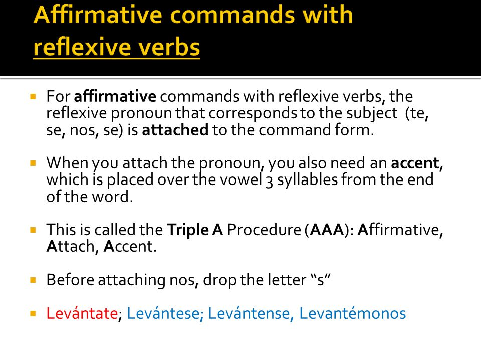 The reflexive pronoun (te; se; nos; se) goes between no and the command form.