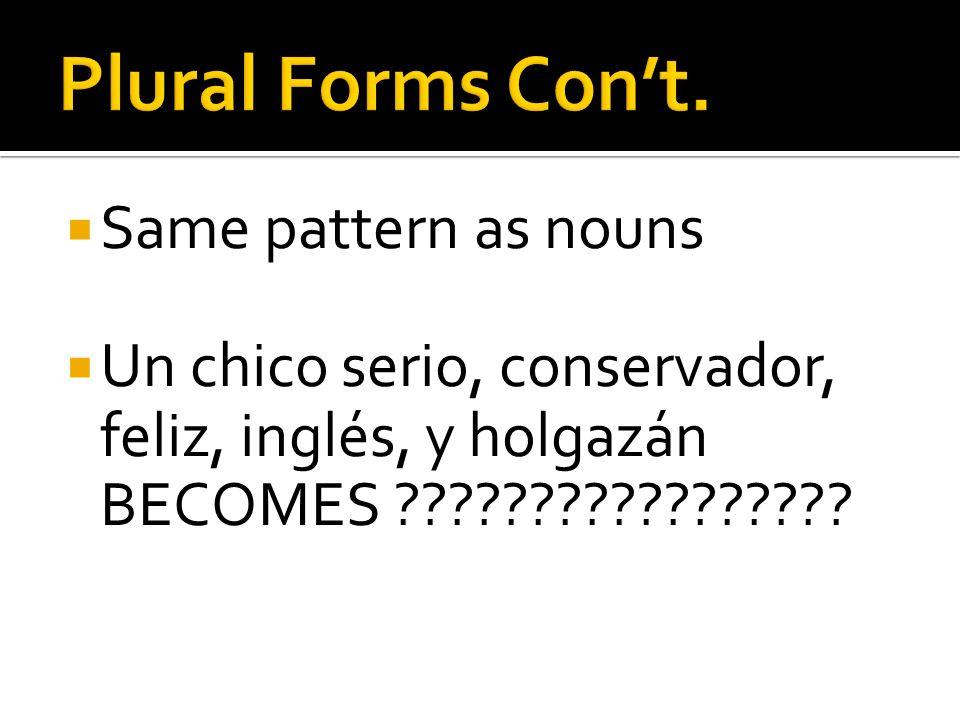 Same pattern as nouns Un chico serio, conservador, feliz, inglés, y holgazán BECOMES ?????????????????