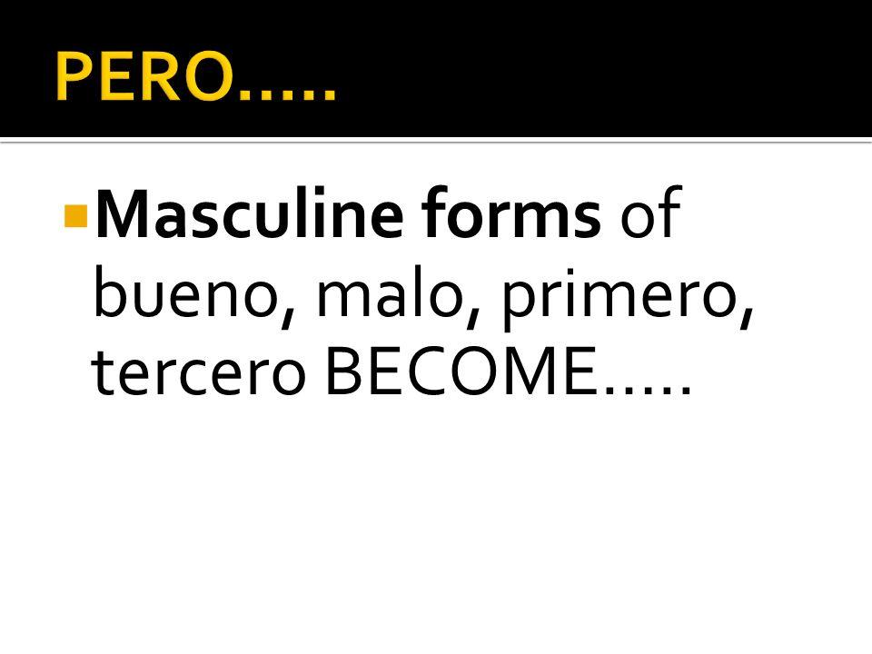 Masculine forms of bueno, malo, primero, tercero BECOME…..