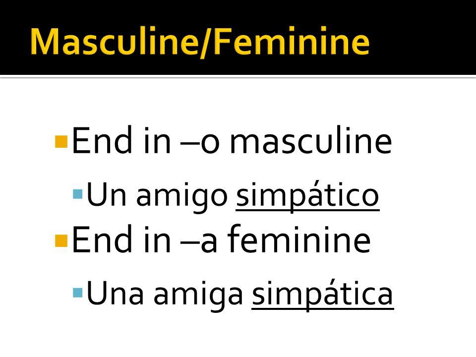 End in –o masculine Un amigo simpático End in –a feminine Una amiga simpática
