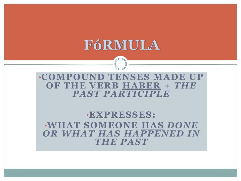 HABER = to have (done something) Las formas de HABER en el presente del indicativo son: HE HAS HA Las formas de HABER en el presente del indicativo son: HE HAS HA HEMOS HAN HEMOS HAN