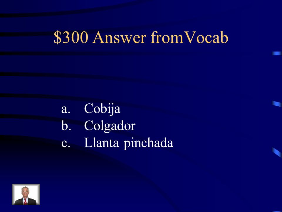 $300 Question fromVocab Escribe los sinóminos: a. manta b. percha c. pinchazo