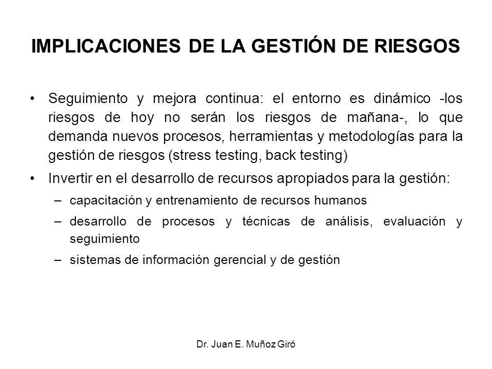 Dr. Juan E. Muñoz Giró IMPLICACIONES DE LA GESTIÓN DE RIESGOS Seguimiento y mejora continua: el entorno es dinámico -los riesgos de hoy no serán los r