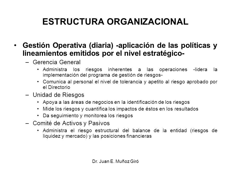 Dr. Juan E. Muñoz Giró ESTRUCTURA ORGANIZACIONAL Gestión Operativa (diaria) -aplicación de las políticas y lineamientos emitidos por el nivel estratég