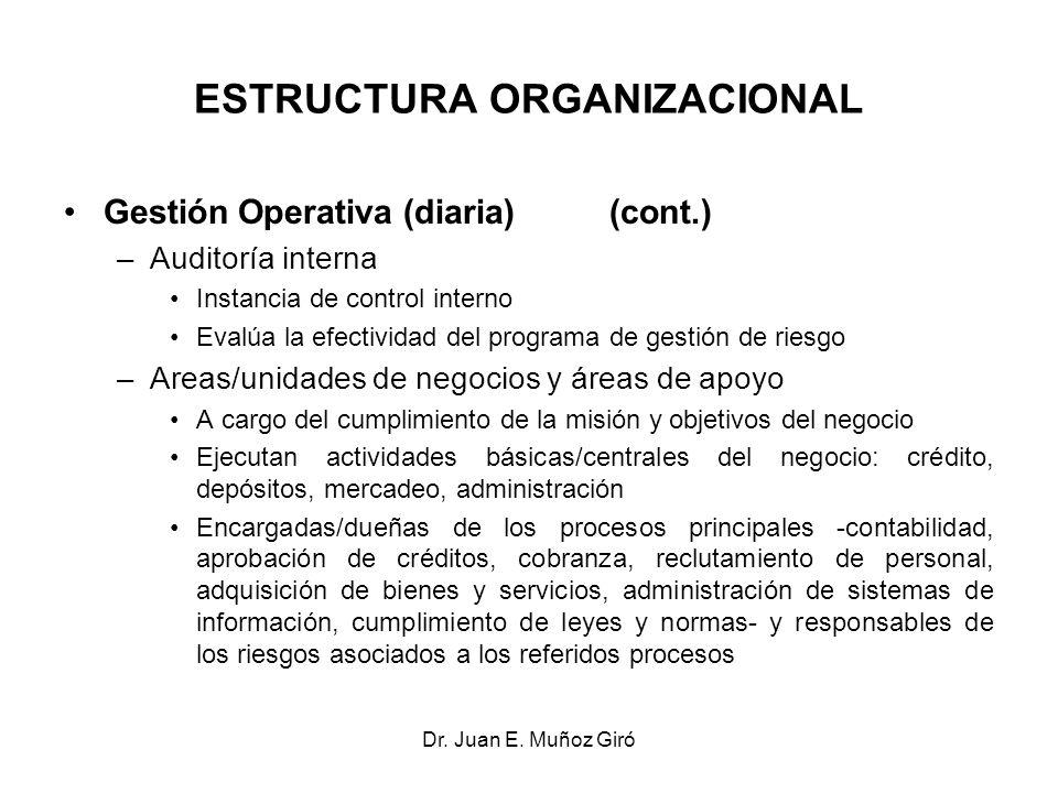 Dr. Juan E. Muñoz Giró ESTRUCTURA ORGANIZACIONAL Gestión Operativa (diaria) (cont.) –Auditoría interna Instancia de control interno Evalúa la efectivi