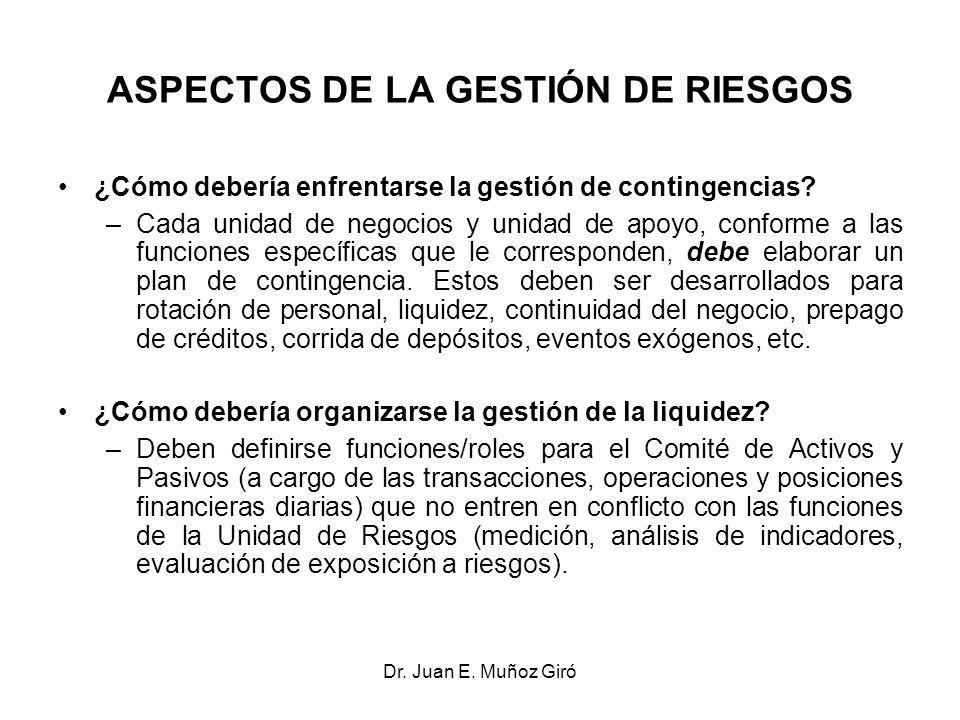 Dr. Juan E. Muñoz Giró ASPECTOS DE LA GESTIÓN DE RIESGOS ¿Cómo debería enfrentarse la gestión de contingencias? –Cada unidad de negocios y unidad de a