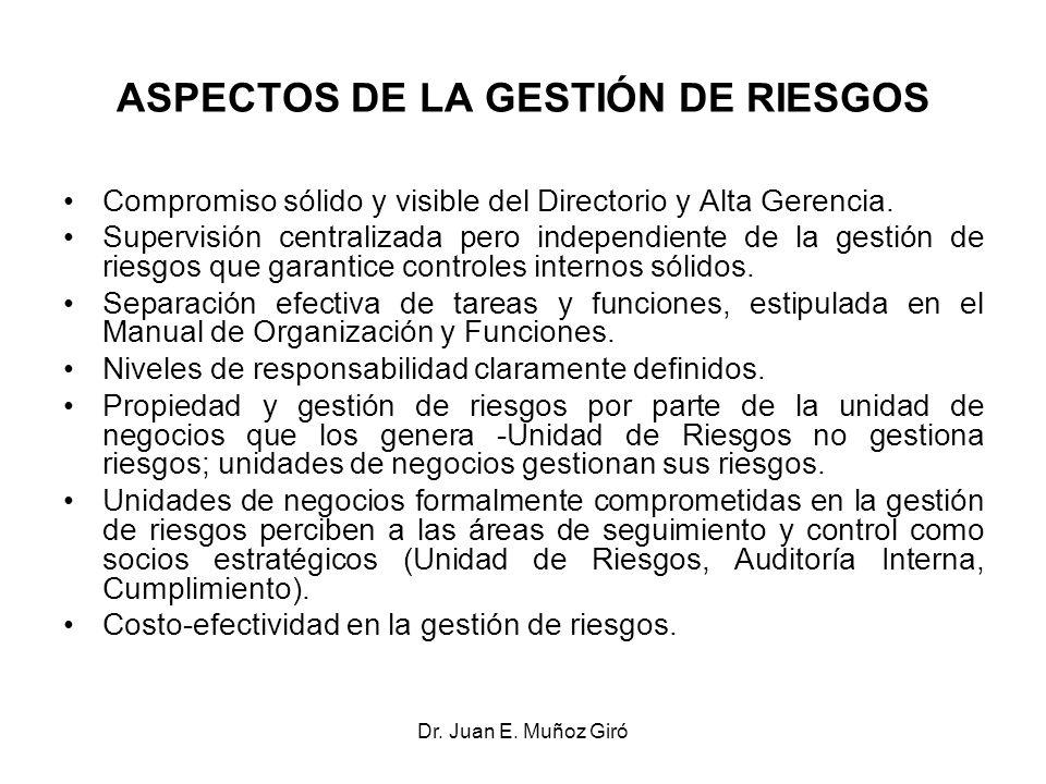 Dr. Juan E. Muñoz Giró ASPECTOS DE LA GESTIÓN DE RIESGOS Compromiso sólido y visible del Directorio y Alta Gerencia. Supervisión centralizada pero ind