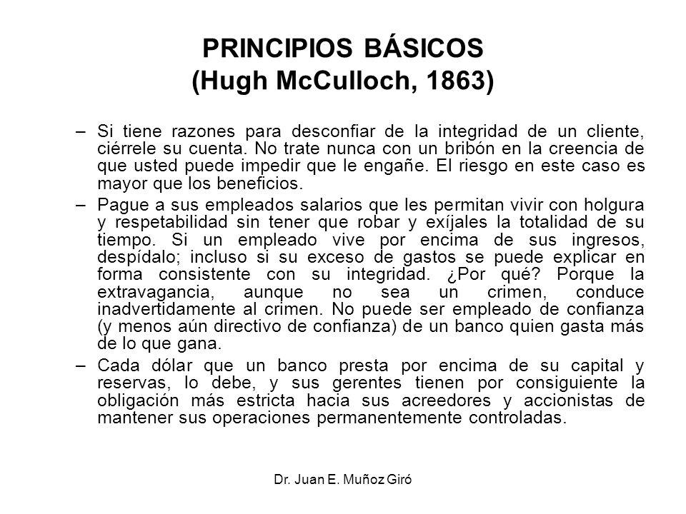 Dr. Juan E. Muñoz Giró PRINCIPIOS BÁSICOS (Hugh McCulloch, 1863) –Si tiene razones para desconfiar de la integridad de un cliente, ciérrele su cuenta.