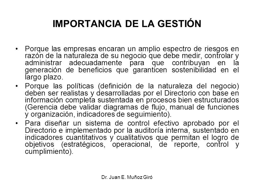 Dr. Juan E. Muñoz Giró IMPORTANCIA DE LA GESTIÓN Porque las empresas encaran un amplio espectro de riesgos en razón de la naturaleza de su negocio que