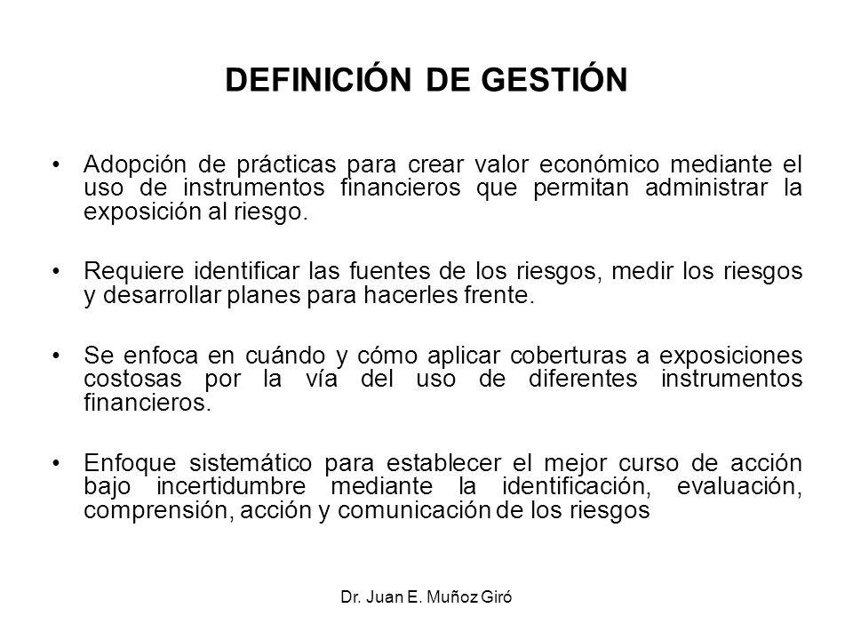 Dr. Juan E. Muñoz Giró DEFINICIÓN DE GESTIÓN Adopción de prácticas para crear valor económico mediante el uso de instrumentos financieros que permitan