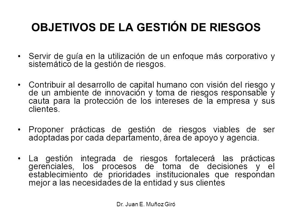 Dr. Juan E. Muñoz Giró OBJETIVOS DE LA GESTIÓN DE RIESGOS Servir de guía en la utilización de un enfoque más corporativo y sistemático de la gestión d