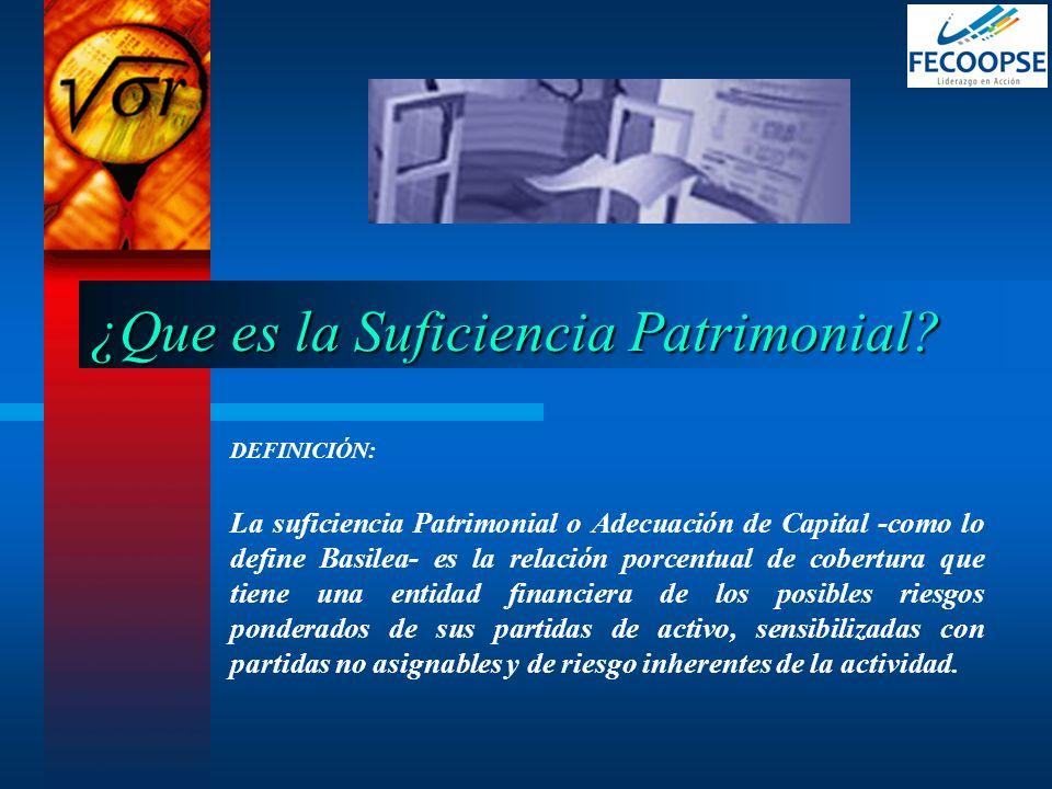 DEFINICIÓN: La suficiencia Patrimonial o Adecuación de Capital -como lo define Basilea- es la relación porcentual de cobertura que tiene una entidad f