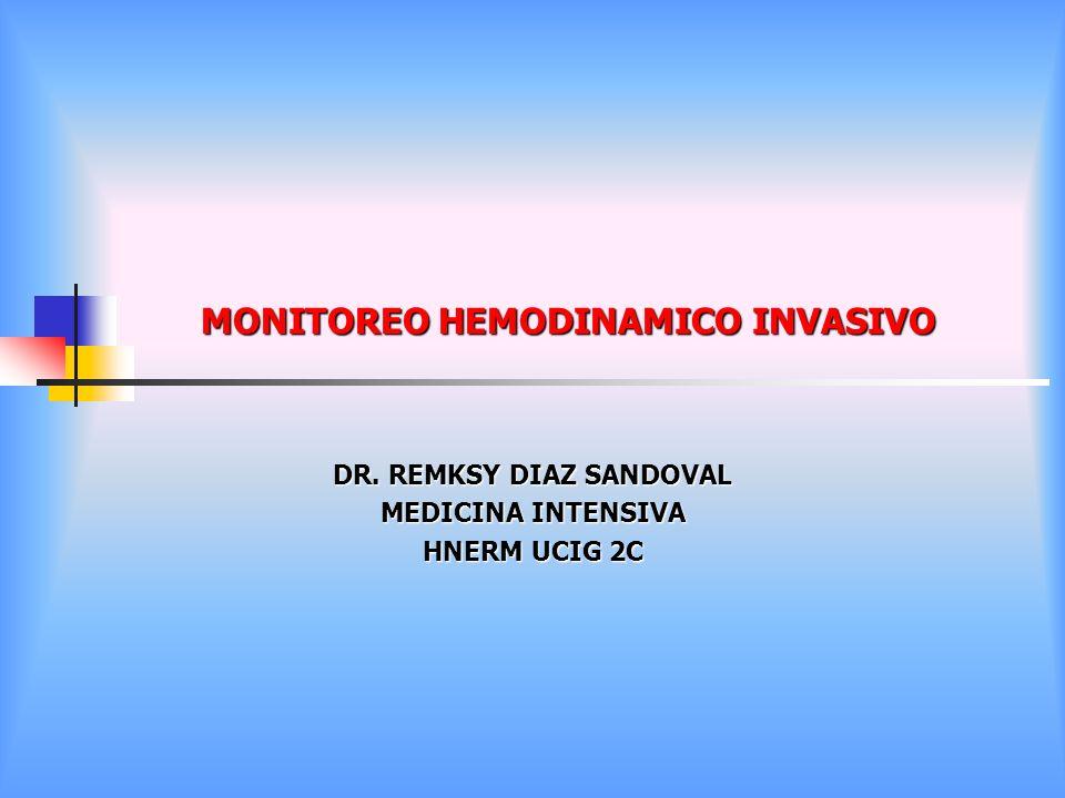 MONITOREO HEMODINAMICO INVASIVO DR. REMKSY DIAZ SANDOVAL MEDICINA INTENSIVA HNERM UCIG 2C