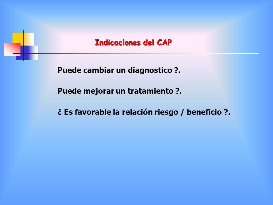 Indicaciones del CAP Puede cambiar un diagnostico ?. Puede mejorar un tratamiento ?. ¿ Es favorable la relación riesgo / beneficio ?.