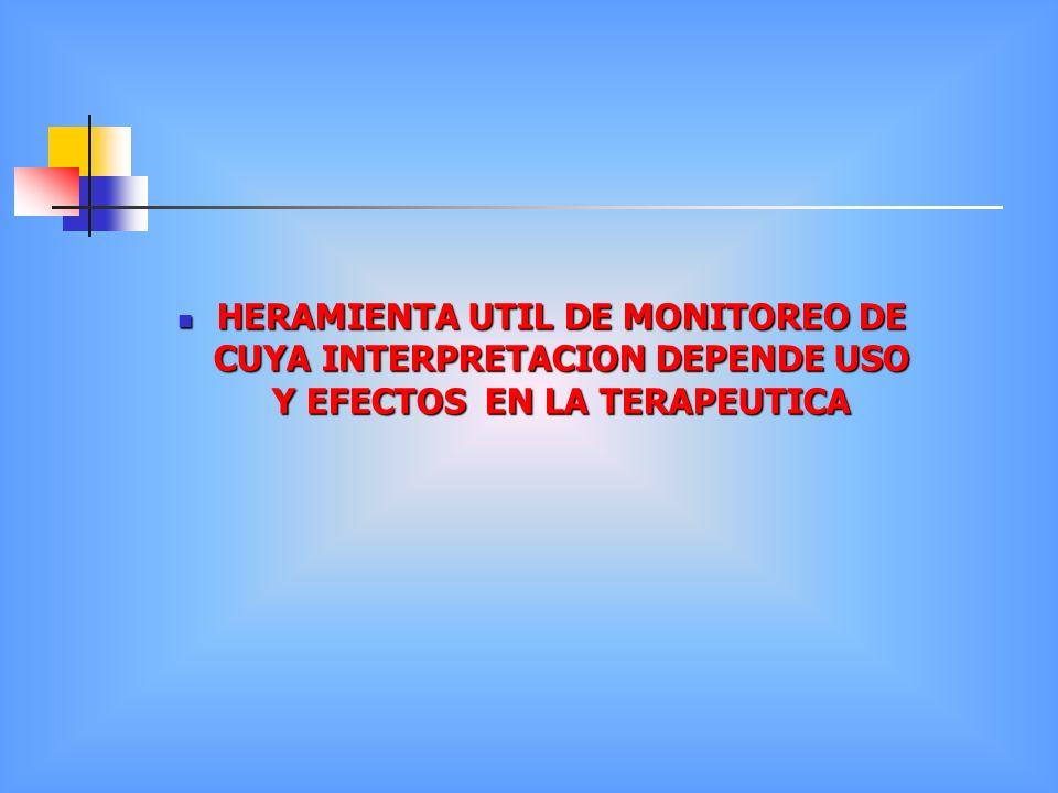 HERAMIENTA UTIL DE MONITOREO DE CUYA INTERPRETACION DEPENDE USO Y EFECTOS EN LA TERAPEUTICA HERAMIENTA UTIL DE MONITOREO DE CUYA INTERPRETACION DEPEND
