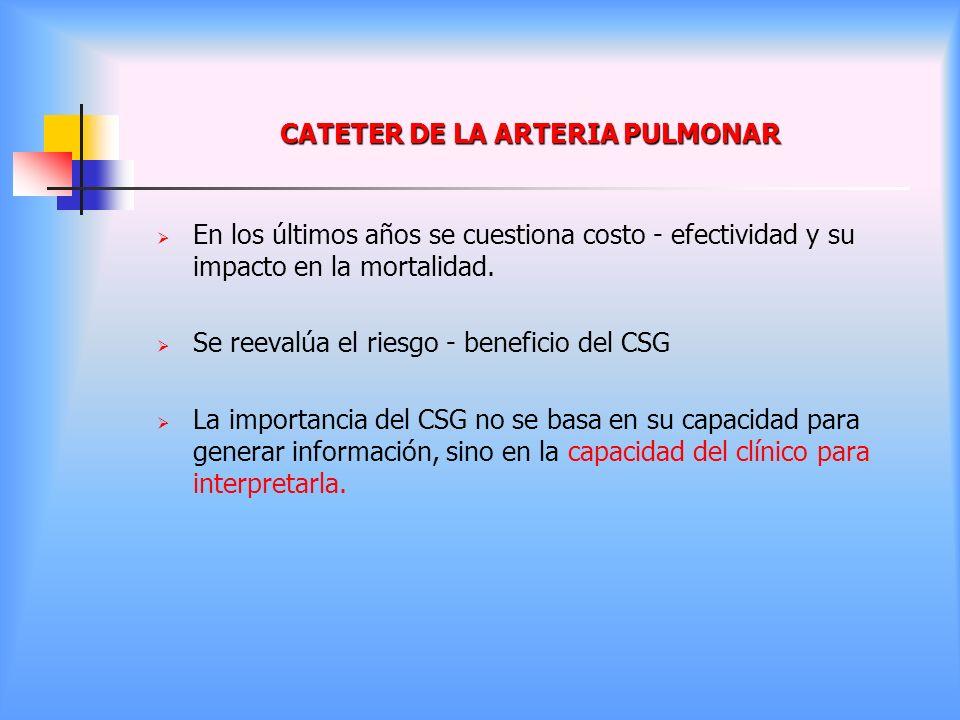 CATETER DE LA ARTERIA PULMONAR En los últimos años se cuestiona costo - efectividad y su impacto en la mortalidad. Se reevalúa el riesgo - beneficio d