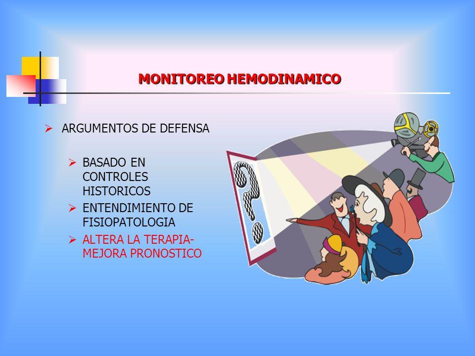 MONITOREO HEMODINAMICO ARGUMENTOS DE DEFENSA BASADO EN CONTROLES HISTORICOS ENTENDIMIENTO DE FISIOPATOLOGIA ALTERA LA TERAPIA- MEJORA PRONOSTICO