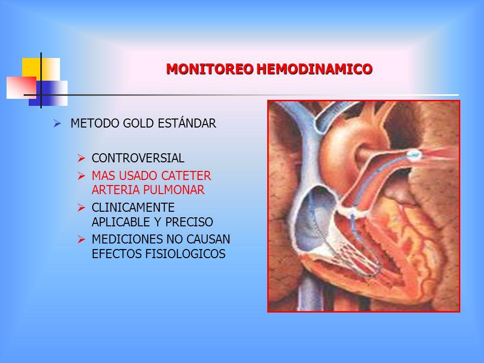 MONITOREO HEMODINAMICO METODO GOLD ESTÁNDAR CONTROVERSIAL MAS USADO CATETER ARTERIA PULMONAR CLINICAMENTE APLICABLE Y PRECISO MEDICIONES NO CAUSAN EFE