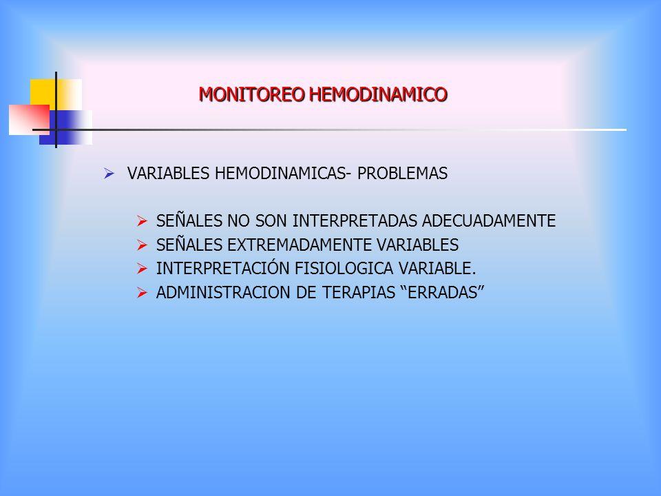 MONITOREO HEMODINAMICO VARIABLES HEMODINAMICAS- PROBLEMAS SEÑALES NO SON INTERPRETADAS ADECUADAMENTE SEÑALES EXTREMADAMENTE VARIABLES INTERPRETACIÓN F
