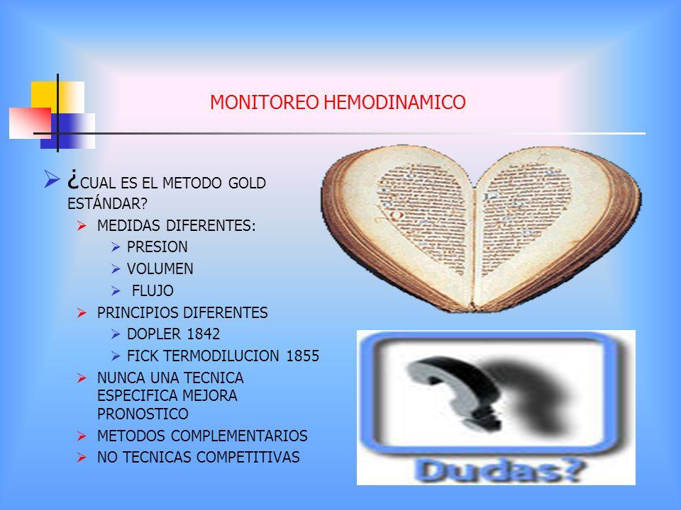 MONITOREO HEMODINAMICO ¿ CUAL ES EL METODO GOLD ESTÁNDAR? MEDIDAS DIFERENTES: PRESION VOLUMEN FLUJO PRINCIPIOS DIFERENTES DOPLER 1842 FICK TERMODILUCI