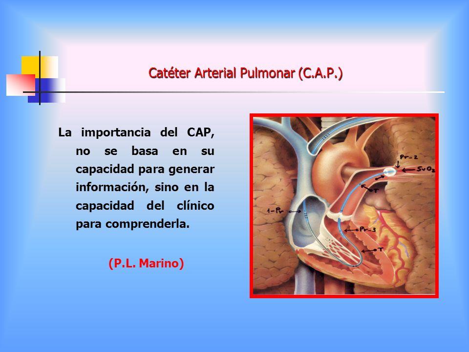 Catéter Arterial Pulmonar (C.A.P.) La importancia del CAP, no se basa en su capacidad para generar información, sino en la capacidad del clínico para