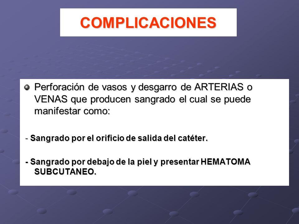 COMPLICACIONES Perforación de vasos y desgarro de ARTERIAS o VENAS que producen sangrado el cual se puede manifestar como: - Sangrado por el orificio